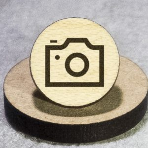 Camera Outline Round Maple Earrings