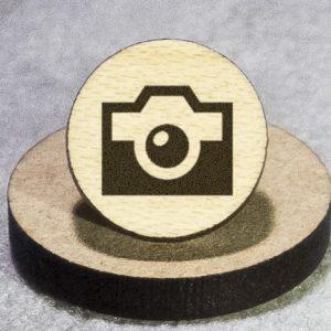 Camera Half-Tone Round Maple Earrings