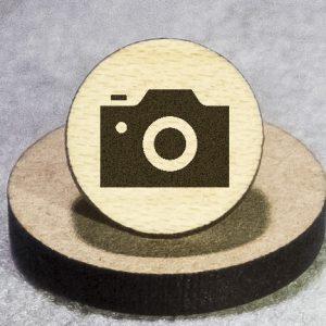 Camera Black Round Maple Earrings