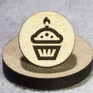 Birthday Cupcake Round Maple Earrings
