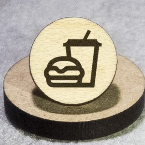 Burger and Drink Round Maple Earrings