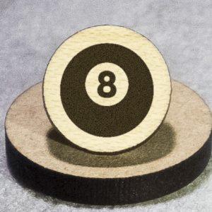 Billiard Ball (8) Round Maple Earrings