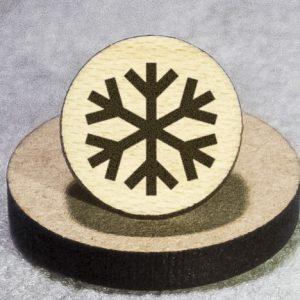 Snowflake 1 Round Maple Earrings