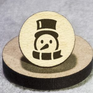 Friendly Snowman Round Maple Earrings