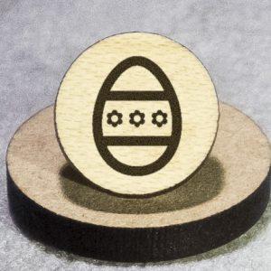 Easter Egg 1 Round Maple Earrings