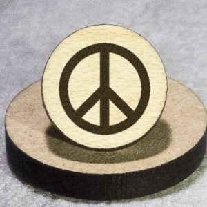 Peace Symbol Round Maple Earrings