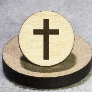 Christian Cross 1 Round Maple Earrings