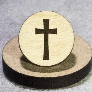 Christian Cross 2 Round Maple Earrings
