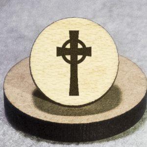 Celtic Cross Round Maple Earrings