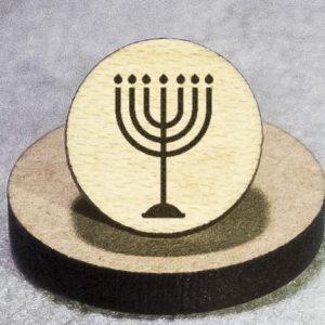 Judaism: Menorah Round Maple Earrings