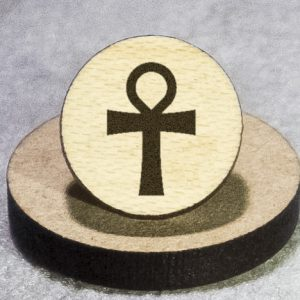 Ankh Round Maple Earrings