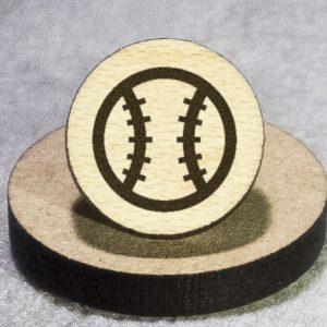 Baseball Round Maple Earrings