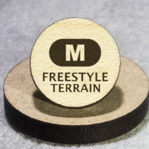 North American Snowsports Symbols: Freestyle Terrain (M) Round Maple Earrings