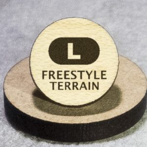 North American Snowsports Symbols: Freestyle Terrain (L) Round Maple Earrings